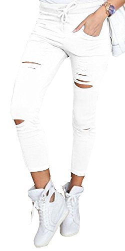 Women's J2 Love Ripped Cotton Legging White L by FOURSTEEDS