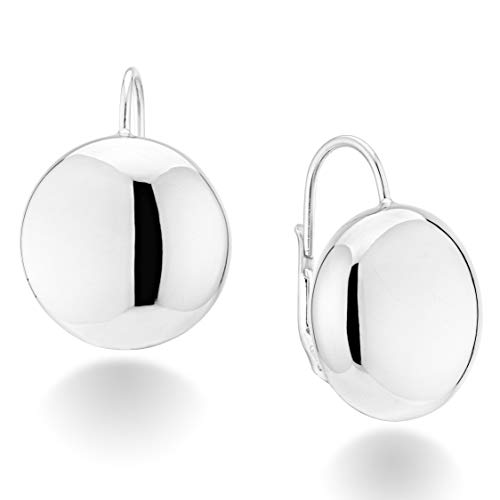 MiaBella Sterling Silver Italian Flattened Bead Ball Statement Leverback Earrings, 12mm, 18mm (12)