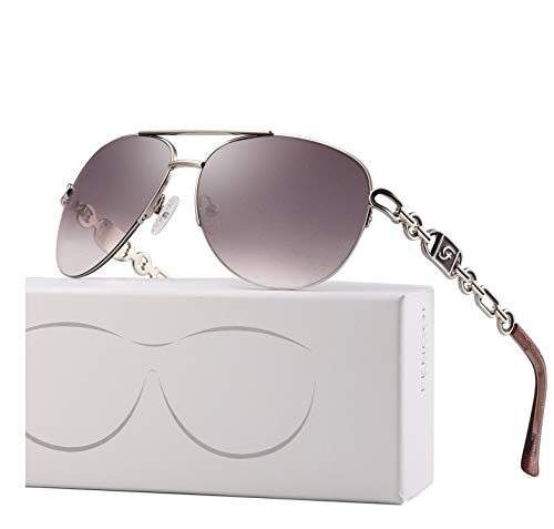 (FENCHI Classic Aviator Sunglasses For Women Metal Frame With Summer Hinges UV400 0257 (lens:brown/frame:shiny silver/temple:purple))