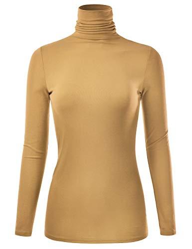 (EIMIN Women's Long Sleeve Turtleneck Lightweight Pullover Slim Shirt Top Mustard 1XL)