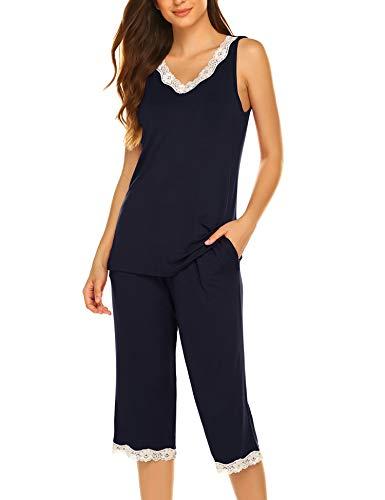 Hotouch Women's Pajama Sets Capri Pants with Tank Tops Cotton Sleepwear Ladies Sleep Sets Navy S