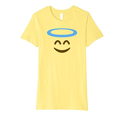 Womens Angel Emoji T-Shirt - Halloween Emoji Costume Shirt Medium Lemon