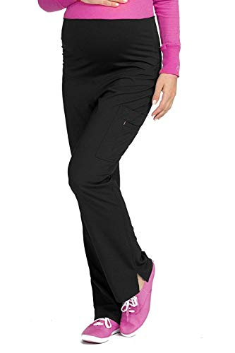 Med Couture Women's Knit Waist Maternity Scrub Pant, Black, Small (Couture Koi)