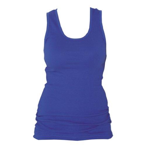 Royal Blue color Classic Super soft 100% cotton longer womens and girls tank shirt, Medium