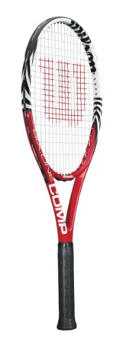 Wilson Six One Comp Strung Adult Recreational Tennis Racket (Red/White, 4 3/8)