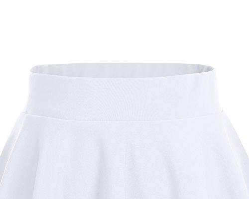 Da Pattinatrice red Corta Gonna Solida Elastica Versatile Mini Dresstells Svasata Pezzi 2 Colore white OqRIwXT