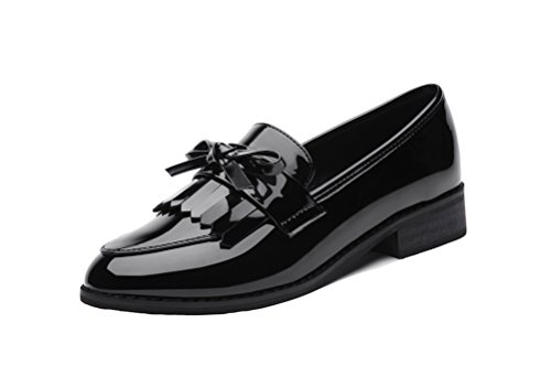 LAIKAJINDUN Womens Low Top Loafers Shoes Leather Tassels Moccasin Shoes Black 42Xvr