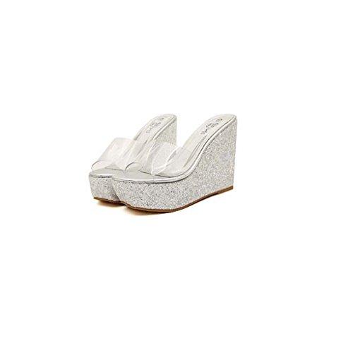 SHEO sandalias de tacón alto Plataforma impermeable de lentejuelas transparente para mujer con sandalias La Plata