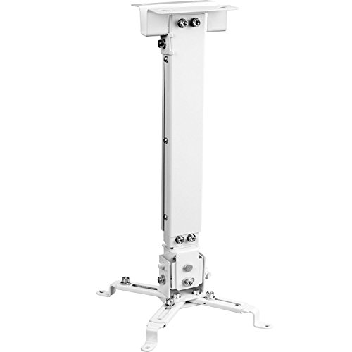 WALI Universal Multiple Adjustment Projector Flat Ceiling Mount Bracket with 25.6 inch Extension Pole, Hold up to 44 lbs. (PM-001-WHT), White (Universal Projector Mount Kit)