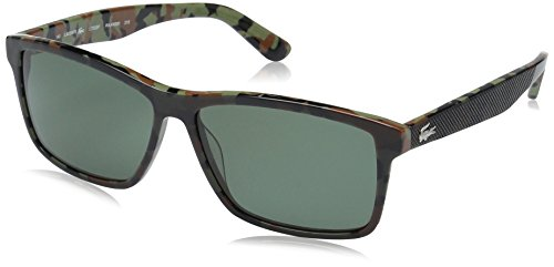 Lacoste Men's L705sp Polarized Rectangular Sunglasses, Military Green/Camouflage, 57 - Lacoste Sunglasses Green