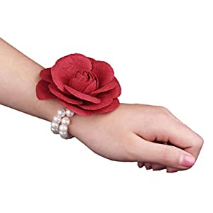 Silk Rose Flower Boutonniere Bride Wrist Corsage Man Suit Brooch Women Hand Wedding Flowers with Pearl Chain Party Decoration 87