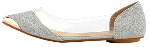 Toe AgeeMi Pumps With Pointed Women Comfort Shoes Silver Slip Flats On Shoes Metal 4nnOw8qt