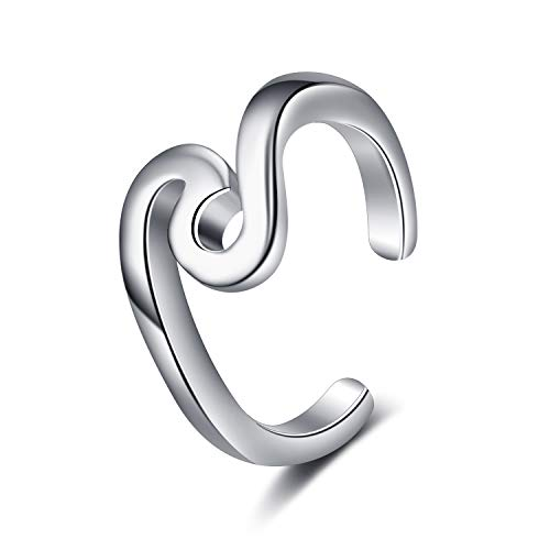 LUHE Wave Toe Rings Sterling Silver Hypoallergenic Adjustable Body Jewelry for Women Girls,Gifts for Her (Wave Toe Rings)