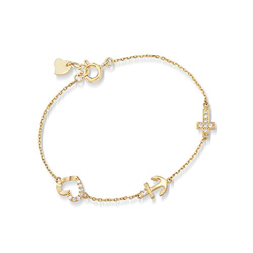 Ross-Simons Child's Cz-Accented Cross, Anchor and Heart Bracelet in 14kt Yellow Gold