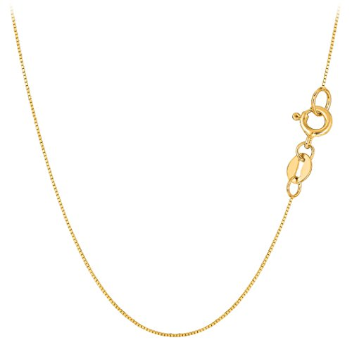 10k Yellow Solid Gold Mirror Box Chain Necklace, 0.6mm, - Gold Solid Chain 10k