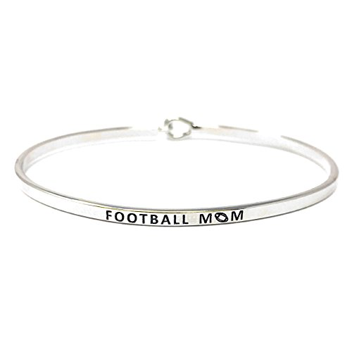 by you Inspirational Football MOM Messages Engraved Thin Bangle Hook Bracelets (Football MOM-Silver, ()