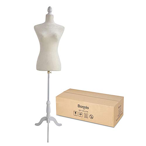 Bonnlo Female Dress Form Pinnable Mannequin Body Torso with Wooden Tripod Base Stand (White, 2-4)