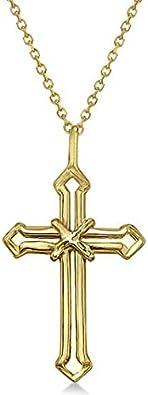 Collar cruzado de oro 14K Cruz abierta de oro amarillo para hombres/mujeres, colgante cruzado de oro amarillo