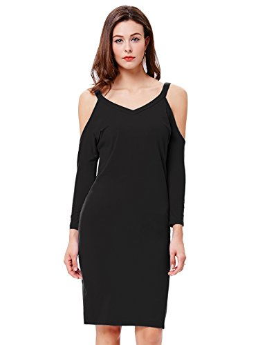 Kate Kasin Women Sexy Bodycon Midi Sundress With Cold Shoulder(M,Black)