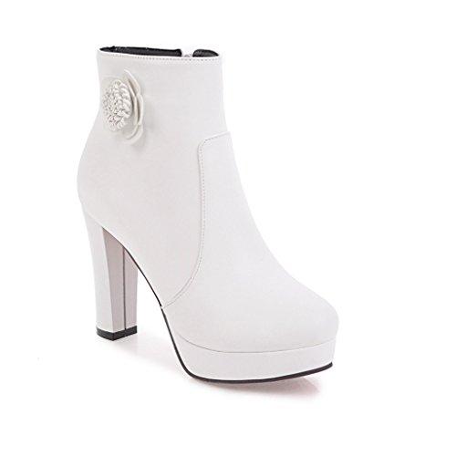 Nouveau Femme Grande Épais Talon Style Avec Taille White Chaussons Haut Bottes UBxfRR