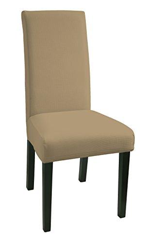 SCHEFFLER-HOME Mia aus Microfiber Stuhlhussen 2 Stück, Stretch-Stuhlbezug elastische moderne Husse, Dekoration Stuhl-Abdeckung aus Elastik-Stoff mit Gummiband für universelle Passform, bi-elastic Spannbezug, sehr pflegeleicht und langlebig - Beige