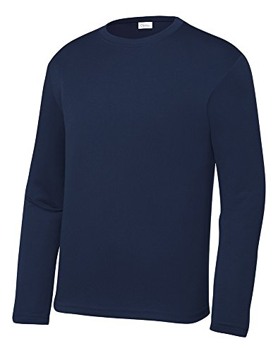 Opna Youth Athletic Performance Long Sleeve Shirts for Boy's or Girl's - Moisture Wicking Navy