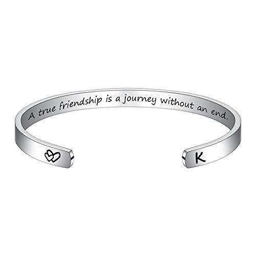 M MOOHAM Long Distance Friendship Gifts Bracelet - Initial Bracelet K Gifts for Women Best Friend Bestie BFF Long Distance Moving Away Friendship Jewelry Reminder Bracelets for Friend