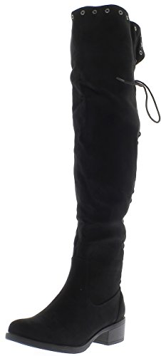 ChaussMoi Trampolieri di Donna Nera di Spessore 4 cm Aspetto Camoscio con Borchie con Pizzo