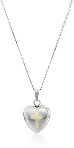 Sterling Silver 12MM Cross Heart Locket Pendant Necklace, (Locket Religious Cross)