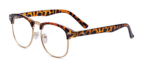 Outray Vintage Retro Classic Half Frame Horn Rimmed Clear Lens Glasses 2135c4 Leopard