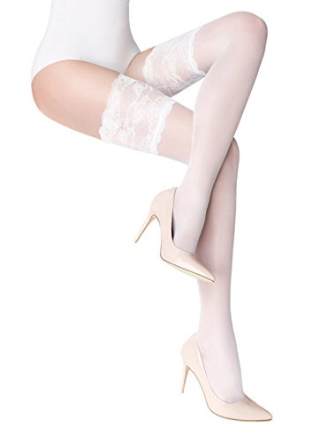 Marilyn Paris Silicone Lace Holdups Thigh High Stockings (S/M) White