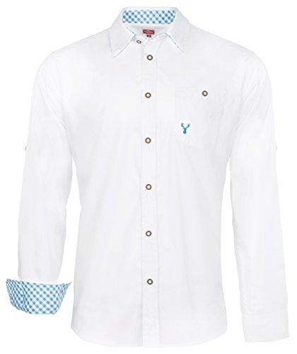 Trachtenhemd Hubert weiß in 10 versch. Sorten Gr. XS-XXXL mit Krempelärmeln (XL, Hellblau)