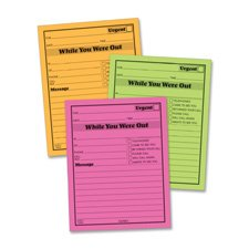 Message Pad, ''While You Where Out'', 4''x5-1/2'', 6/PK,Neon AST, Sold as 1 Package, 6 Each per Package by Adams