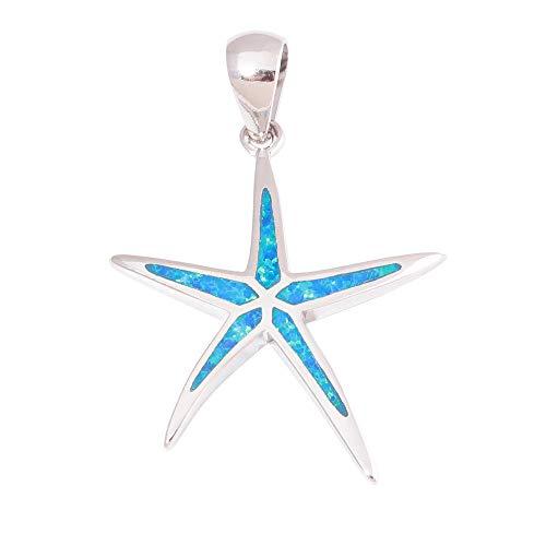 New Star Blue Fire Opal Silver Fashion for Women Jewelry Gemstone Pendant -
