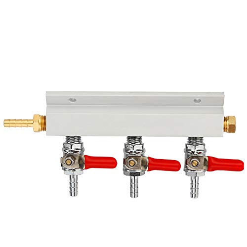 SODIAL 3 Way Co2 Gas Distribution Block Manifold With 7Mm Hose Barbs Home Brewing Draft Beer Dispenser Keg ()