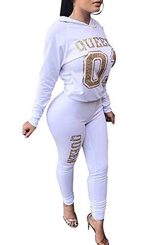 Women Casual Pullover Hoodie Long Sleeve Sweatshirt Two Piece Sport Trackusuit Outfits Set - 2 Piece Hoodie Set
