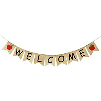 Back to school banner. Welcome burlap first day