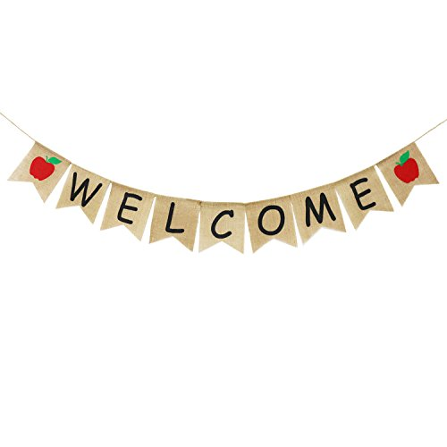 Welcome Banner Burlap - First Day of School Banner - Teacher Banner - Classroom Decor- Back to School Decorations - Office Decor - Welcome Banner for Party]()