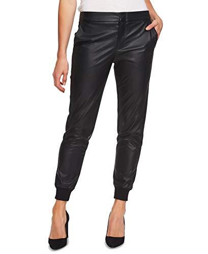 CeCe Women's Faux Leather Jogger Tab Front Pants Blacks