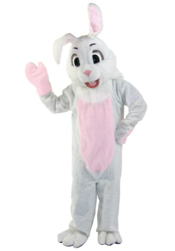 Fun Costumes Easter Bunny Mascot White Faux Fur Costume - ST]()
