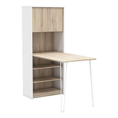 Miroytengo Mesa con estanteria despacho Escritorio Juvenil Blanco y Roble Moderno Industrial 120x93
