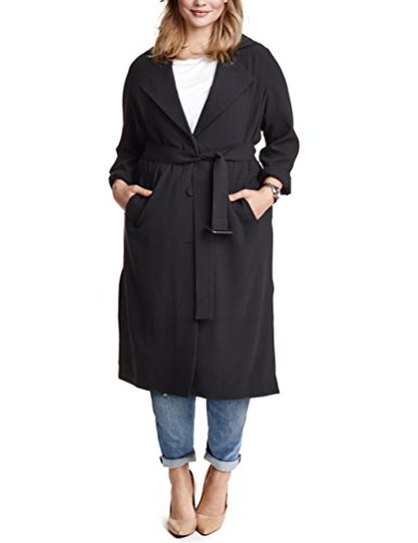 Choco Mocha Women's Single-Breasted Plus Size Belted Maxi Trench Coat 18W