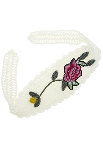 TRENDY FASHION JEWELRY FLOWER PATCHED KNIT TIE BACK HEADBAND BY FASHION DESTINATION | (Ivory)