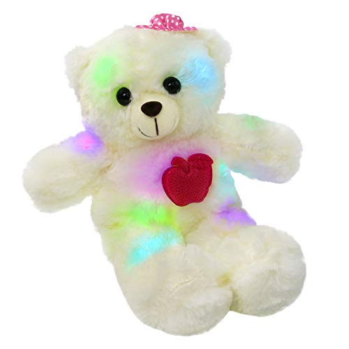 (WEWILL LED Teddy Bear Glow Stuffed Animal Colorful Light Up Plush Toy Gift for Girlfriend Kids on Birthday Christmas,15-Inch, Pink)