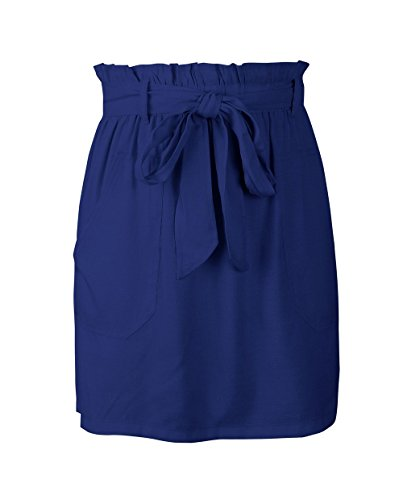 Jupes Court Fonc Plage de Fashion Soire Jupe Jupe Fte Bandage Femme de avec Haute Bleu Taille Unie Couleur t WIcOqfF