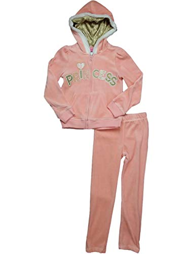 Young Hearts Girls Peach Velour Princess Zip Up Hoodie Velvet Satin Sweatsuit Outfit