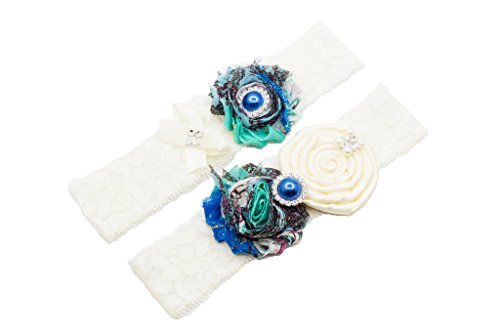 Wedding Lace Garter Set Peacock Inspired With Light Blue Pearl(Gift Box)