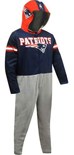 (Concepts Sport Men's New England Patriots One Piece Union Suit Hooded Pajama (X-Large) Navy Blue)