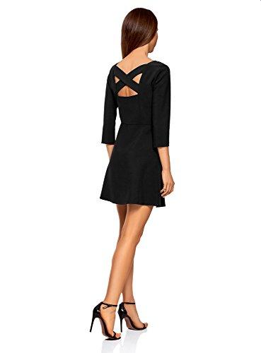 oodji Ultra Mujer Vestido Entallado con Abertura en la Espalda Negro (2900N)