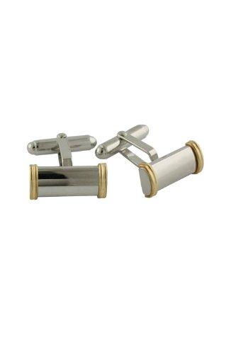 14k 2 Tone Gold Cufflinks - David Donahue Sterling Silver with 14 Karat Gold Wire Cufflinks (H95168235)